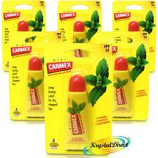 6x Carmex Moisturising Mint Lip Balm Tube SPF15 For Dry Chapped Cracked Lips 10g