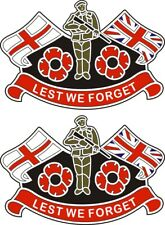 2 POPPY STICKERS WITH ENGLAND FLAG AND UNION JACK  - for cars, laptops, tablets.