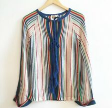 Vintage Striped Open Face Bell Sleeve Sweater With Tassel Closures Size Large