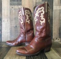 Lucchese San Antonio Vtg Leather Inlay Cowboy Boots Mens 10 D
