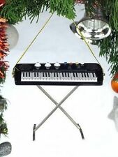 "BLACK KEYBOARD w/ STAND 3"" MUSICAL INSTRUMENT CHRISTMAS ORNAMENT GIFT BOXED"