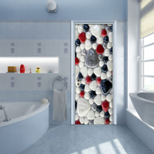 3D Waterproof Stones Bathroom Door Sticker Cobblestone Living Room Wall Decal
