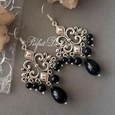 Vintage Style Black Gothic Earrings Glass Pearls Chandelier 925 Sterling Tibetan