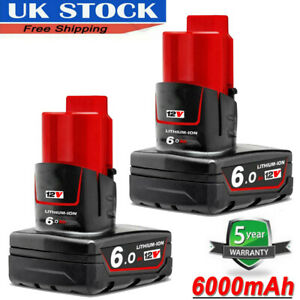 2X For Milwaukee M12 LITHIUM ION XC 6.0 High Capacity Battery 12 V 48-11-2402