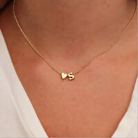 Silver Gold Multi Layer Love Heart Initial Letter Chain Friendship Necklace Boho