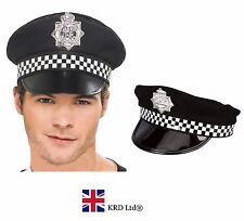 ADULT POLICEMAN HAT Police Cop Fancy Dress Costume Peak Cap With Check Band UK