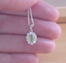 """925 Perido Pendant & 18""""Sterling Silver Chain/Peridot Necklace/Peridot Jewellery"""