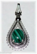 "Pendant Malachite Silver Plated 1"" Hand Crafted Artisan"