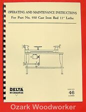 Delta Milwaukee 930 11 Wood Lathe Operator Amp Parts Manual 0226