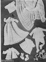 Vintage shawl & Layette  knitting pattern- Complete baby outfit to Knit in 3 ply