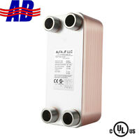 """30 40 50 60 70 Plate Heat Exchanger water to water 1"""" MPT 4&1/4"""" x 12"""" 316L"""