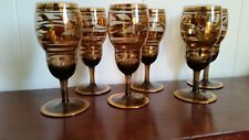 Six Retro Black Crystal Sherry Glasses with Gilded Banding