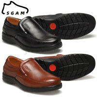 SGAM Mens Genuine Leather Shoes Slip On Loafers Casual Antiskid Outdoor Moccasin
