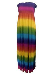 Womens Ladies Vibrant Rainbow Colour Sheering Boobtube Summer Maxi Beach Dress