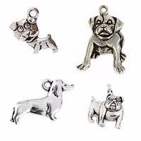 106pcs Antique Dachshund PUG SCHNAUZER Dog Tibetan Silver Charms Pendant Bead