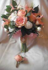 Wedding Bouquet, Pink, White, Greenery, Rose Gold Brooch, Silk, Rustic, 2pc Set