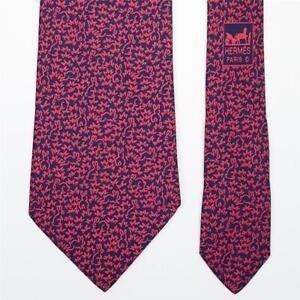HERMES TIE 5314 TA Red Rabbit on Dark Blue Classic Silk Necktie