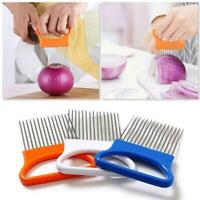 Easy Cut Onion Holder Fork +Stainless Steel Tomato Cutter Needle Met V8G5