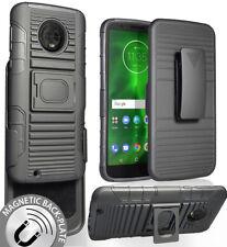 Black Magnet Grip Case + Belt Clip Holster Stand for Motorola Moto G6 XT1925