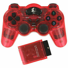ZEDLABZ manette sans fil pour PS2 Playstation 2 Double Choc RF Gamepad-Rouge
