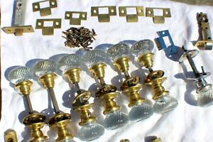 Antique Sager Swirl Crystal Door Knobs Lot of 7 c. 1930's Plates Latches