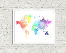 8 x 10in WATERCOLOUR RAINBOW WORLD MAP modern wanderlust travel wall art print