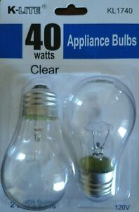 2 Pk 40 Watt Appliance Light Bulb Oven Refrigerator Microwave Fridge Freezer A15