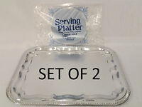 Rectangle Silver Effect Serving Plate Dinner Tray Platter Mirror Polished x 2