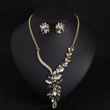 grey/clear gem rhinestone fashion necklace/earring set US SELLER SHIP FROM NYC