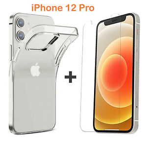 For Apple iPhone 12 PRO Clear Case Cover and Anti-scratch Front Screen Protector