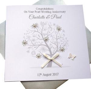 Personalised Handmade Pearl Wedding Anniversary Card 30th