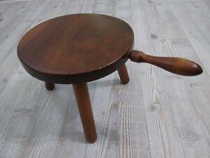 Vintage Mid Century 3 Leg Wood Foot Stool Milking Stool with Handle