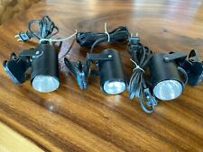 Lot of 3 Black Clip-On Lamps Portable Light Headboard Laundry Kitchen Shed Tool