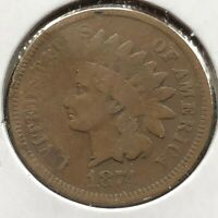 1874 Indian Head Cent 1c Circulated #10863