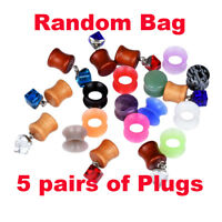 5 PAIRS RANDOM EAR PLUGS EAR GAUGES-MIXED STYLE-CHOOSE SIZE-10 PIECES TOTAL