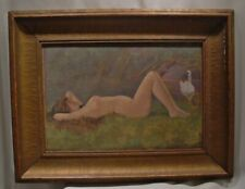 C1920s Art Nouveau Signed Nude Painting  F. Pegram