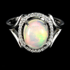 Fire Opal Rainbow Oval 10x8mm Cz 14k White Gold Plate 925 Sterling Silver Ring