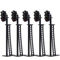 5pcs Model Railway HO Scale 3-Light Block Signal G/Y/R 6.5cm 12V Led JTD04