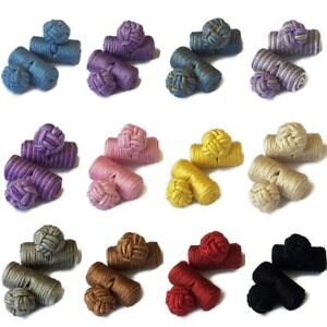 Cufflinks Silk Knot Barrel Mens Womens Shirt Round Cuff Links Gift Stripe UK New