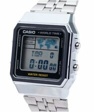 CASIO Vintage Retro Silver A500WA-1 A500WA-1 World Time Map Display @