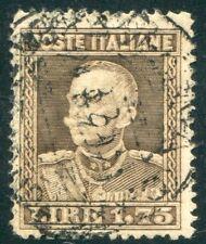 1929 Regno lire 1,75 bruno grigiastro dent. 13 3/4 usato centrato SPL