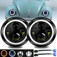 """7"""" inch Round LED Headlight Halo Ring DRL Light Fit For VW Beetle 1967-1979"""