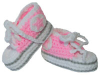 Infant Booties - Crochet Sneakers - Pink (0-6 Months)