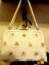 Vintage 60'S White& Pink Floral Design Beaded Reversible Handbag
