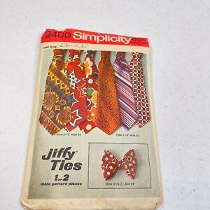 vtg sewing pattern mens jiffy ties simplicity 9400 13 pieces work wear 70s