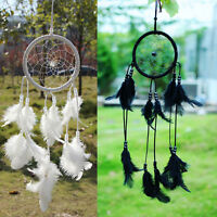 Handmade White/Black Dream Catcher With feathers Hanging Decoration Craft Gift