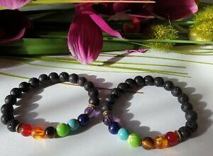 2 Stück Energie Freundschaftsarmband Armband 7 Chakra Chakrenausgleich Lava NEU