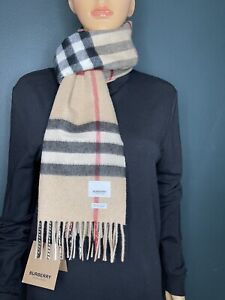 Authentic Burberry Unisex The Classic Check Cashmere Scarf Color Archive Beige