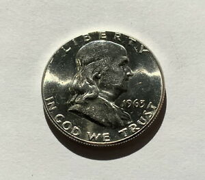 United States Silver Franklin Half Dollar 1963P - Lovely Bright UNC! Beautiful!