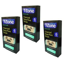 Pack Of 3 T-Zone Charcoal Nose Pore 6 Strips Cleansing Nose Strips NEW